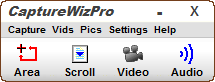 Capture bar provides choice of screen capture tools.